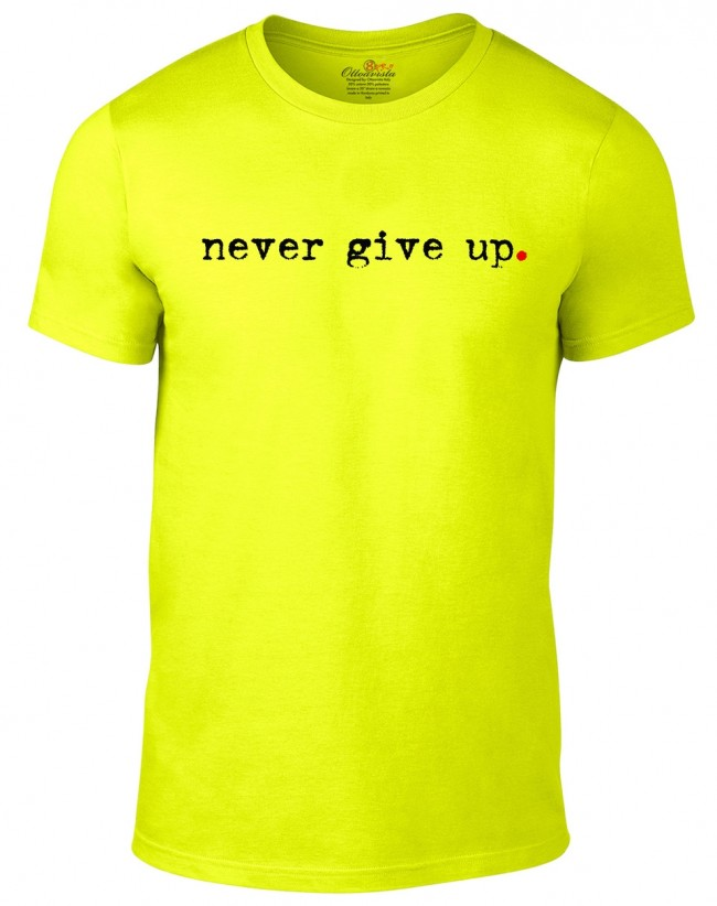 new styles 3b9cb 962e9 Maglietta Ottoavista Never Give Up Giallo Fluo